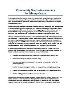 Community Needs Assessments for Library Grants
