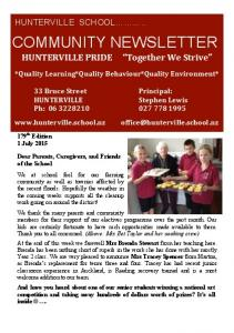 COMMUNITY NEWSLETTER HUNTERVILLE*PRIDE***** Together*We*Strive * *