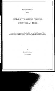 COMMUNITY-ORIENTED POLICING: IMPROVING AN IMAGE