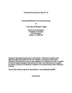 Community Policing Project Paper No. 24. Community Mobilization for Community Policing. J. Erik Gudell and Wesley G. Skogan