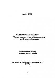 COMMUNITY RADIOS Tools to promote peace, culture, democracy and development in Africa