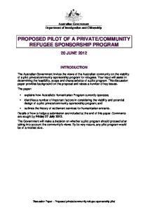COMMUNITY REFUGEE SPONSORSHIP PROGRAM