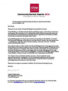 Community Service Awards 2016 Giving Back to Northern Colorado