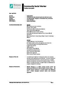 Community Social Worker Position Description