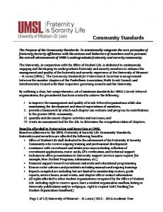 Community Standards. Page 1 of 12 University of Missouri St. Louis Academic Year
