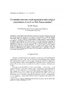 Community structure, social organization and ecological requirements of coral reef fish (Pomacentridae) ~