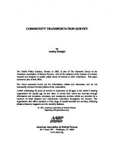 COMMUNITY TRANSPORTATION SURVEY