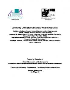 Community-University Partnerships: What Do We Know?