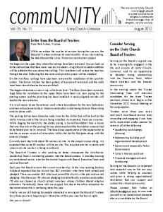 community Vol. 35, No. 11 Unity Church Unitarian August 2012