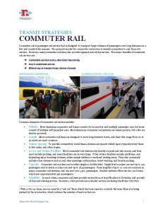 COMMUTER RAIL TRANSIT STRATEGIES