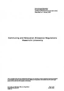 Commuting and Relocation Allowance Regulations Maastricht University