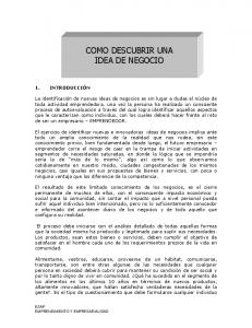 COMO DESCUBRIR UNA IDEA DE NEGOCIO