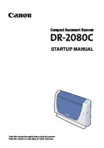 Compact Document Scanner STARTUP MANUAL