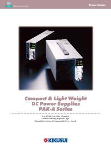 Compact & Light Weight DC Power Supplies PAK-A Series