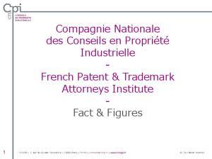 Compagnie Nationale des Conseils en Propriété Industrielle - French Patent & Trademark Attorneys Institute - Fact & Figures