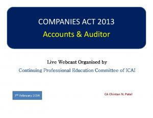 COMPANIES ACT 2013 Accounts & Auditor