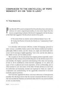 COMPANION TO THE ENCYCLICAL OF POPE BENEDICT XVI ON GOD IS LOVE