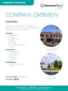 COMPANY OVERVIEW COMPANY OVERVIEW INCLUSIONS. Products. Innovations. Certifications. Inclusions