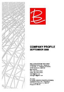 COMPANY PROFILE SEPTEMBER 2009