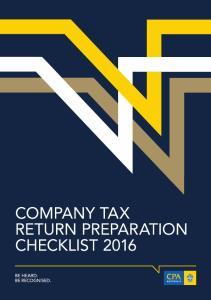 Company Tax Return Preparation Checklist 2016
