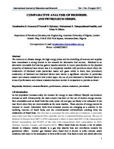 COMPARATIVE ANALYSIS OF BIODIESEL AND PETROLEUM DIESEL