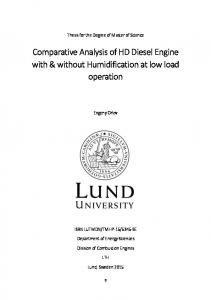 Comparative Analysis of HD Diesel Engine with & without Humidification at low load operation