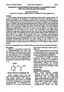 Comparative Analytical Study for Determination of Acetylsalicylic Acid in Bulk and in Pharmaceutical Formulations