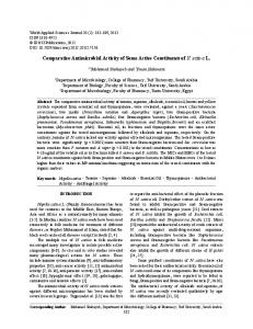Comparative Antimicrobial Activity of Some Active Constituents of N. sativa L