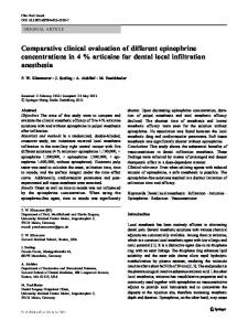 Comparative clinical evaluation of different epinephrine concentrations in 4 % articaine for dental local infiltration anesthesia