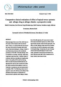 Comparative clinical evaluation of effect of topical verses systemic anti -allergic drug in allergic rhinitis: a prospective study