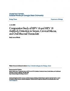Comparative Study of HPV 16 and HPV 18 Antibody Detection in Serum, Cervical Mucus, and Oral Mucosal Transudate