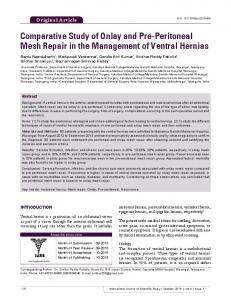 Comparative Study of Onlay and Pre-Peritoneal Mesh Repair in the Management of Ventral Hernias