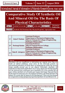 Comparative Study Of Synthetic Oil And Mineral Oil On The Basis Of Physical Characteristics