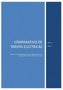 COMPARATIVO DE TARIFAS ELECTRICAS