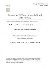 Comparing OSV operations in Brazil with Norway