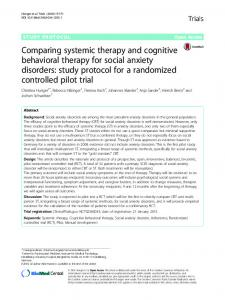 Comparing systemic therapy and cognitive behavioral therapy for social anxiety disorders: study protocol for a randomized controlled pilot trial