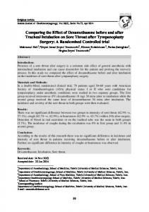 Comparing the Effect of Dexamethasone before and after Tracheal Intubation on Sore Throat after Tympanoplasty Surgery: A Randomized Controlled trial