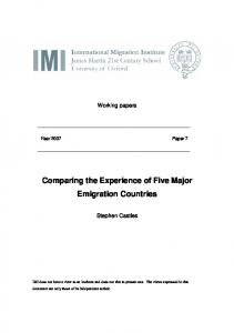 Comparing the Experience of Five Major Emigration Countries