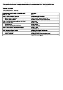 Comparison Eurostat ICT usage household survey questionnaire SIBIS questionnaire