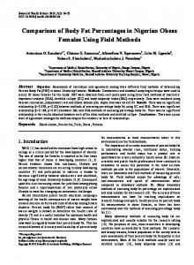 Comparison of Body Fat Percentages in Nigerian Obese Females Using Field Methods