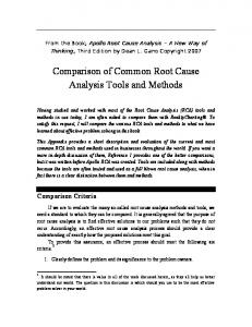 Comparison of Common Root Cause Analysis Tools and Methods