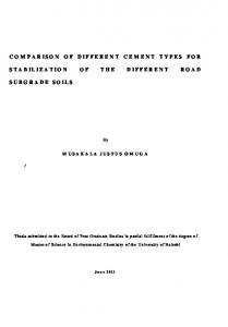 COMPARISON OF DIFFERENT CEMENT TYPES FOR STABILIZATION OF THE DIFFERENT ROAD SUBGRADE SOILS