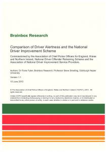 Comparison of Driver Alertness and the National Driver Improvement Scheme