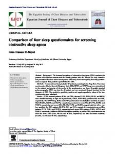 Comparison of four sleep questionnaires for screening obstructive sleep apnea