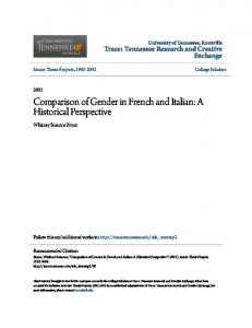 Comparison of Gender in French and Italian: A Historical Perspective