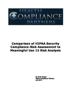 Comparison of HIPAA Security Compliance-Risk Assessment to Meaningful Use 15 Risk Analysis