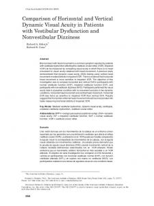 Comparison of Horizontal and Vertical Dynamic Visual Acuity in Patients with Vestibular Dysfunction and Nonvestibular Dizziness
