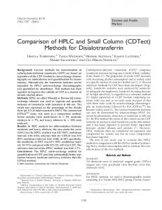 Comparison of HPLC and Small Column (CDTect) Methods for Disialotransferrin