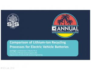 Comparison of Lithium-Ion Recycling Processes for Electric Vehicle Batteries