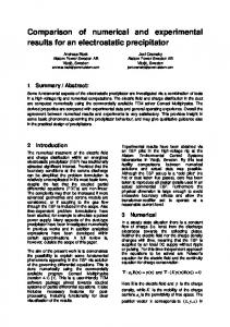 Comparison of numerical and experimental results for an electrostatic precipitator